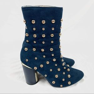 CAPE ROBBIN Studded ankle boots Blue suede Sz 6